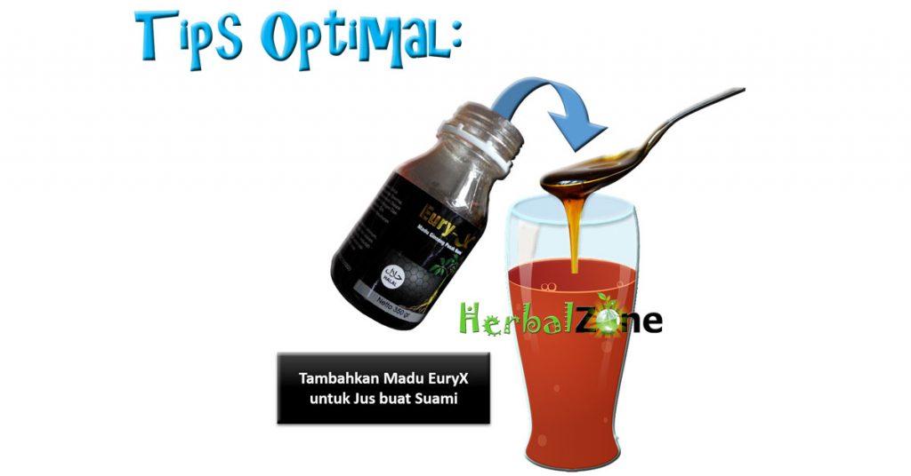 jus untuk program hamil : madu eury x untuk pria ditambahkan pada segelas jus yang akan diminum oleh suami